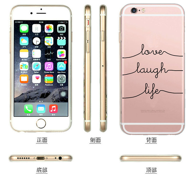 Portuguese Words Love Amor Design Transparent Soft Silicon Phone Case For Apple  Apple Iphone 6 Case 6S