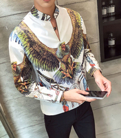2019 Casual Long Sleeve Europe Style Slim Fit Cotton Shirts m52