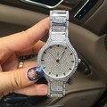 Известный бренд Женщины Rhinestone часы стальной ленты Платье Смотреть Полный Кристалл Алмаза дамы Роскошные Часы Женские Кварцевые часы
