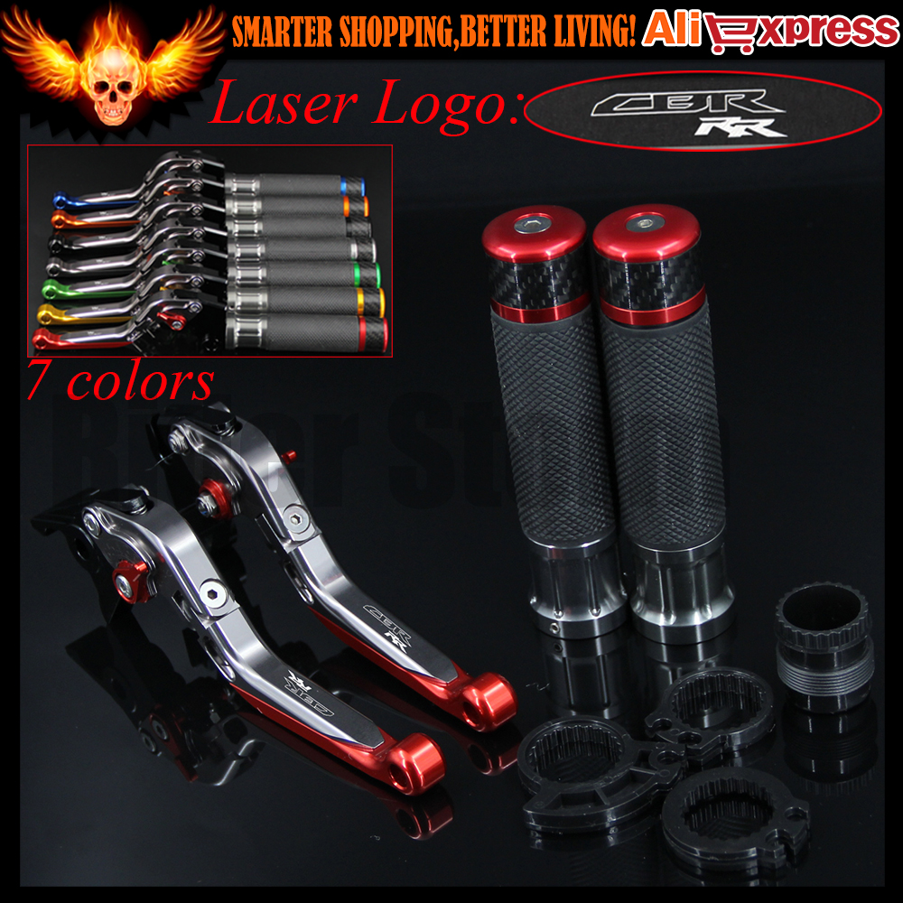 For Honda CBR1000RR / FIREBLADE 2004 2005 2006 2007 Red+Titanium Adjustable Motorcycle Brake Clutch Levers&Handlebar Hand Grips