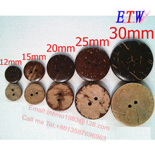 Кокосовые кнопки 200 шт./лот DIY кнопки пальто разные размеры 12 мм 15 мм 20 мм 25 мм 30 мм
