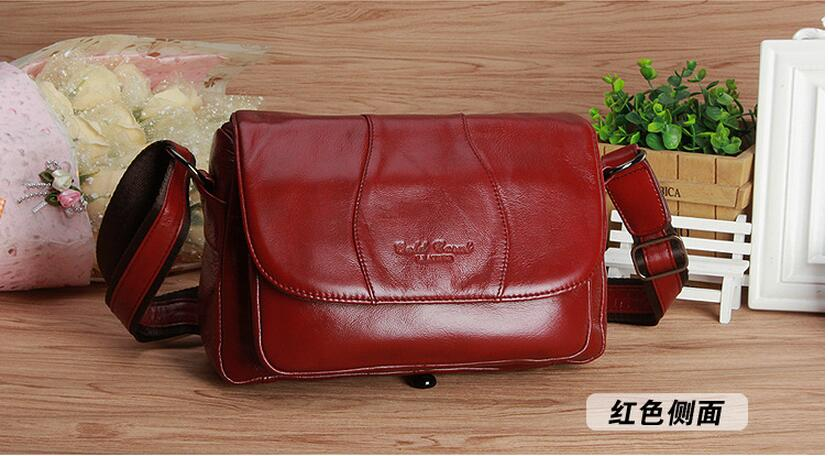 2017 first layer cowhide genuine leather middle-aged women's messenger bag one shoulder cross body bag  old women mother's bag genuine leather women s handbag one shoulder cross body small bags women s brief first layer of cowhide leather messenger bag