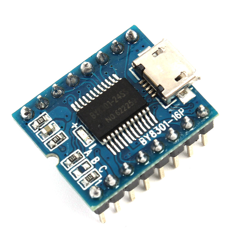 MP3 Player Module Mini MP3 Player Audio Voice Module Board BY8301-16P 32Mbit 4Mbyte Supp ...