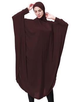 النساء المسلمات غطاء أسود العباءة الإسلامية الخمار الملابس الحجاب رداء كيمونو لحظة طويلة الحجاب العبادة العربية الصلاة 2