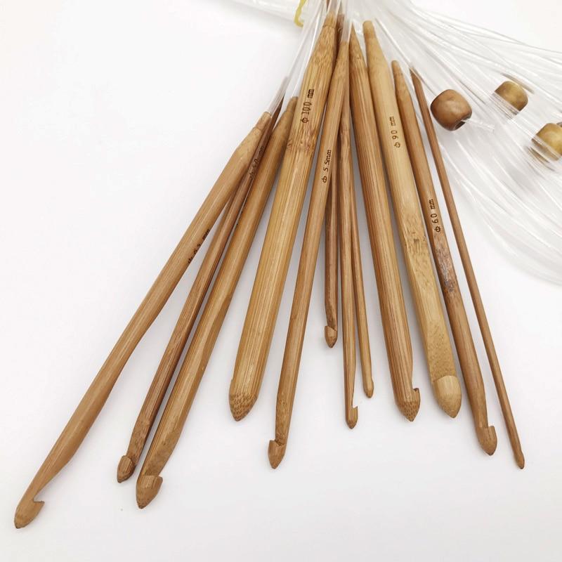 1 Set 12 Misure Di Bambù Dei Ganci Di Crochet Di Lavoro A Maglia Ago Kit 3-10mm Strumenti Per La Tessitura Set @ Ls Jy19