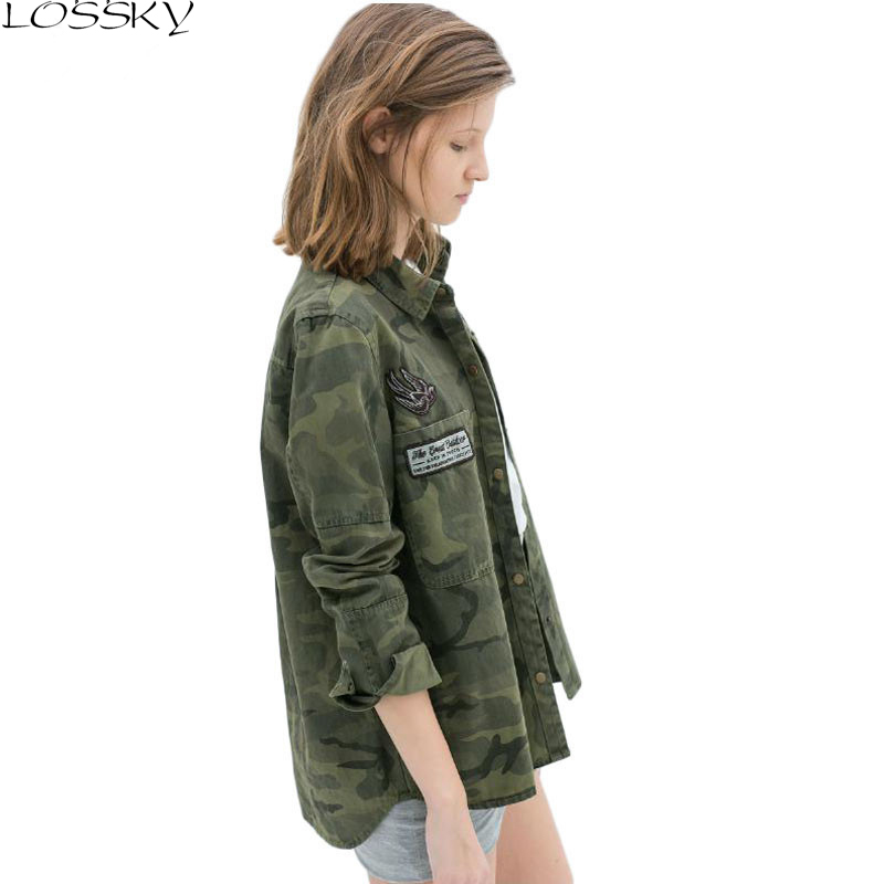 Ms. GCAROL New Camouflage Shirt Asymmetrical Long-sleeved Jacket Military Blouse Casual Shirt2019