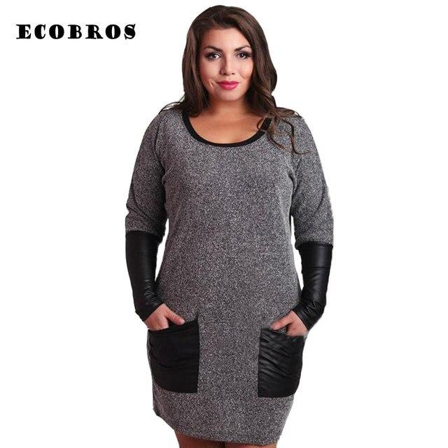 ECOBROS Big size 6XL 2017 Fat MM Woman Dress Loose solid long sleeve  patchwork knee dresses plus size women clothing 6xl dress 1e51397d490c