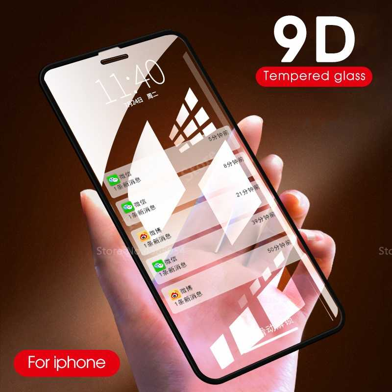 9D Tempered Glass for iphone 7 6s 6 8 Plus X glass Protective Glass For iPhone X XS MAX XR 7 Screen Protector Curved Edge Film