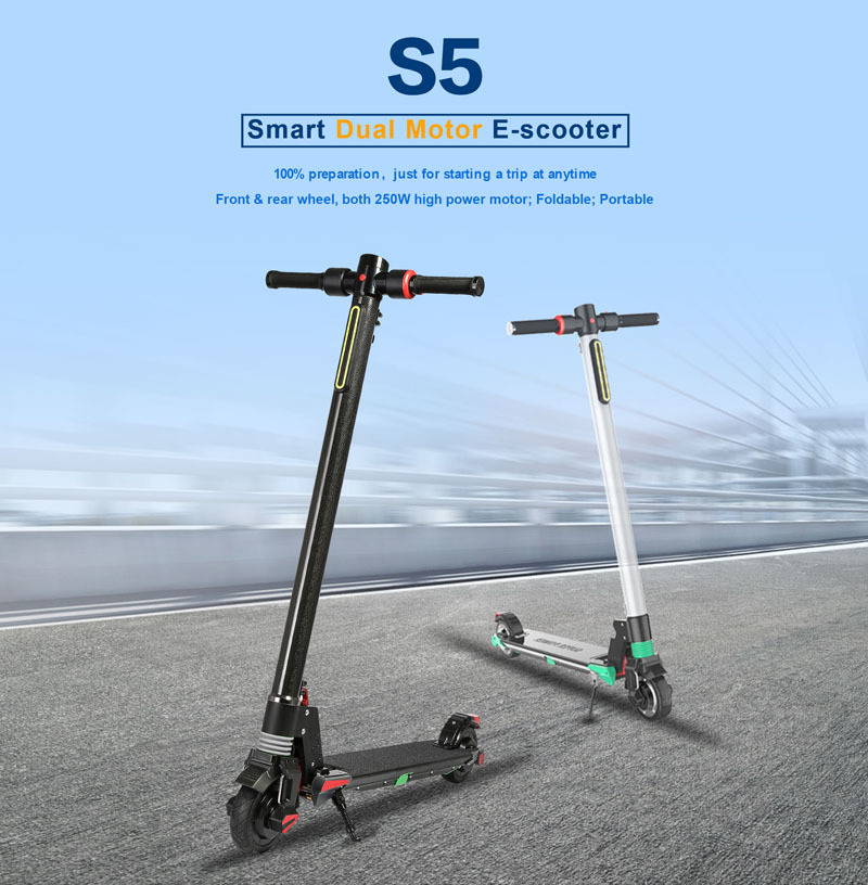 Top Dual Motors 2018 New Carbon Fiber Folding Electric Scooter Scooter Skateboard Bicycle Kick Scooter Powerful Electric Bicycle 0