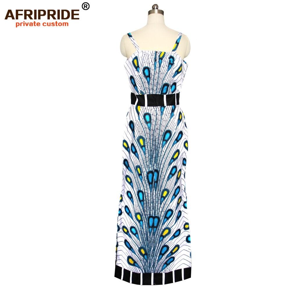 Kadın Giyim'ten Elbiseler'de 2019 bahar kadınlar için afrika elbise AFRIPRIDE tailor made bazin richi kolsuz ayak bileği uzunluk yan bölünmüş kadınlar elbise A1825112'da  Grup 3