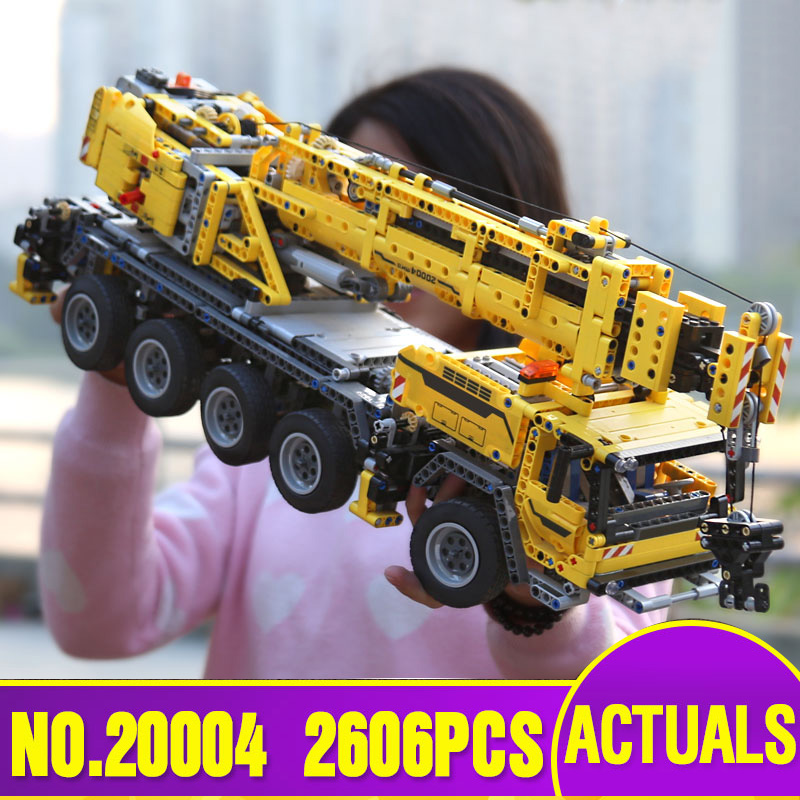 DHL LEPIN 20004 Technic Motor Power Mobile Crane Mk II Model Building Kits Blocks Toy Bricks Christmas Gift 42009 MODEL a toy a dream lepin 15008 2462pcs city street creator green grocer model building kits blocks bricks compatible 10185