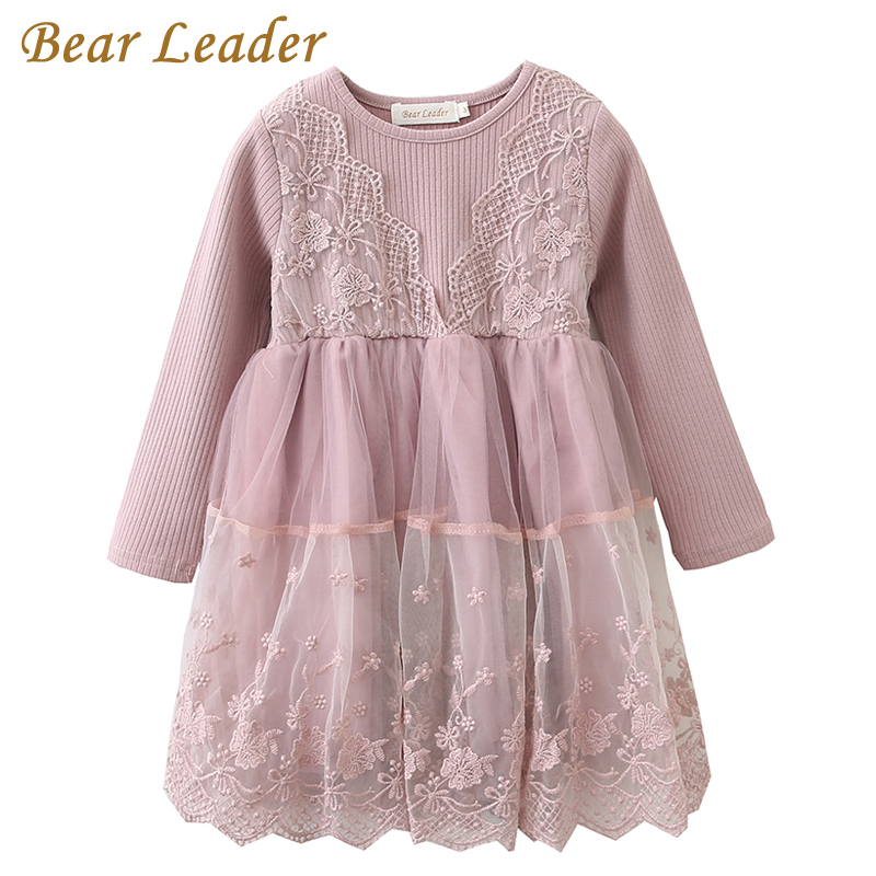 Bear Leader Girls Dress 2017 New Autumn Brand Baby Girls Lace Flowers Patchwork Kids Dresses Children Clothing For 3-7 Years цена 2017