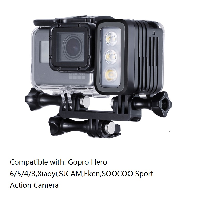 30 Meters Underwater Waterproof Diving LED Gopro LED Light Spot Lamp for GoPro Hero 5 4 3+ 3 2 SJCAM XIAOYi Sport Cameras plastic stainless steel adjusting screws for gopro hero 4 3 3 2 1 suptig sport dv 2 pcs