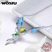 WOSTU Original Brand Real 925 Sterling Silver Butterfly Fairy Pendant Necklace For Women Fine Jewelry Gift For Lover FIN253(China)