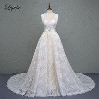 Роскошное кружевное милое ТРАПЕЦИЕВИДНОЕ свадебное платье без рукавов чудесные бисерные Кристаллы Пояса суд поезд 2 в 1 платья невесты