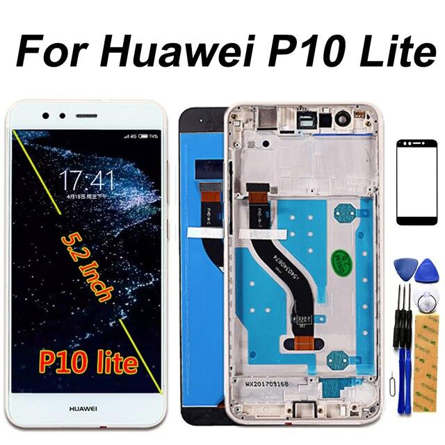 Huawei p10 lite display lcd tela de toque dizigiter assembléia quadro 5.2 polegada lcd huawei p10 lite reparação parte