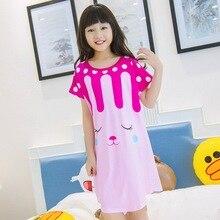 Новая летняя Трикотажная хлопковая детская ночная рубашка с рисунком птицы, платье принцессы, ночная рубашка для девочек, пижамы, одежда для сна, 23