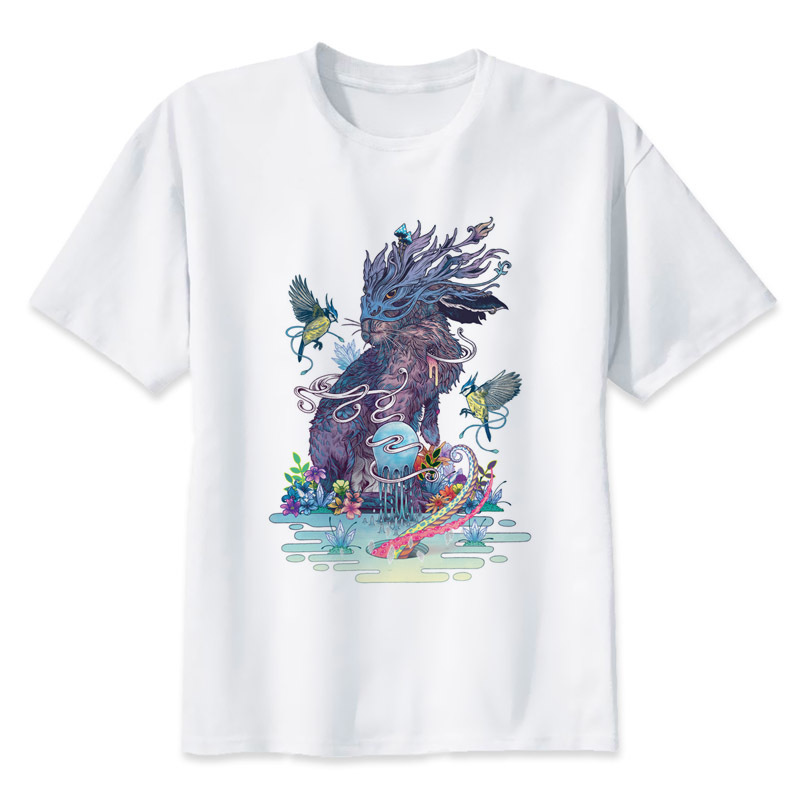 Rabbit trippy T Shirt men Summer fashion High Quality t-shirt casual white print O-Neck print male men top tees MR1511