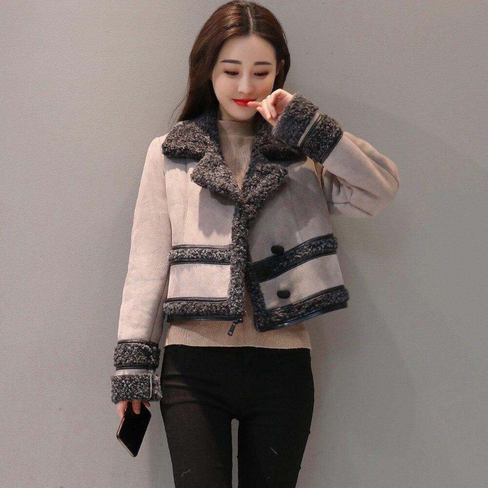 Модная замшевая куртка, Женское пальто, съемная Вельветовая длинная куртка, элегантная тонкая утепленная куртка размера плюс, зимняя куртка с длинным рукавом Q633 - 4