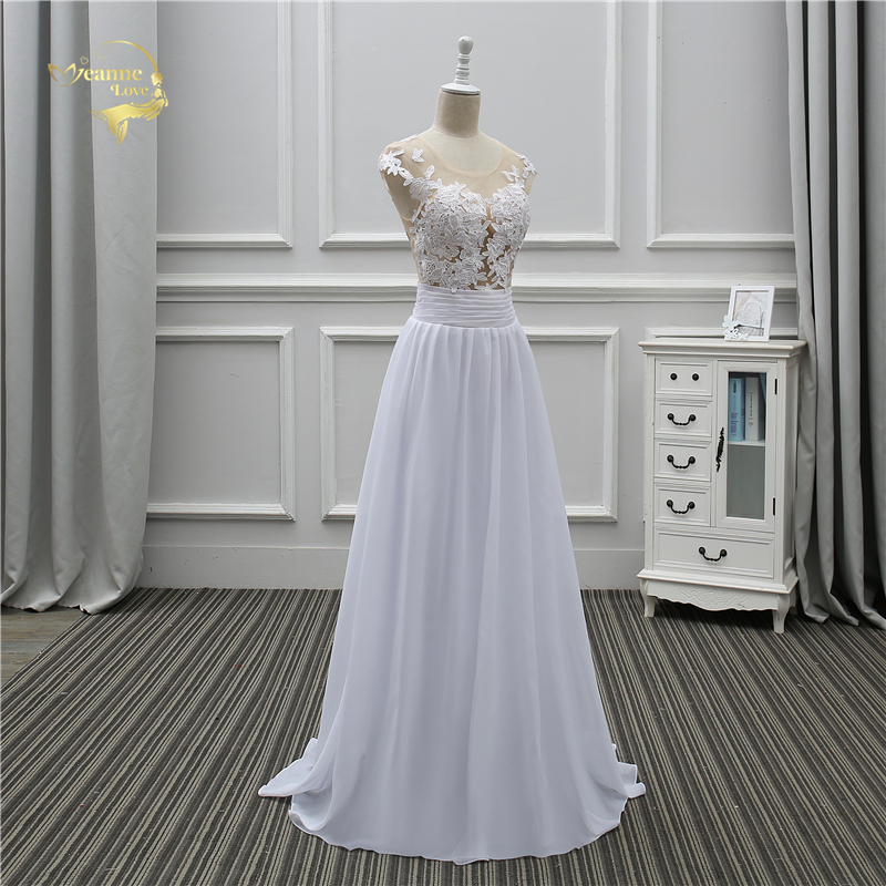 Jeanne Love Sexy Lace White Beach Wedding Dresses 2018 Newest Perspective Robe De Mariage JLOV75982 Vestido De Noiva Trouwjurk 5