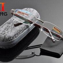 5122246cf48a DeDing Metal Half-rim Square Frame Presbyopia Lens Reading Glasses Diopter + 1.0+1.5