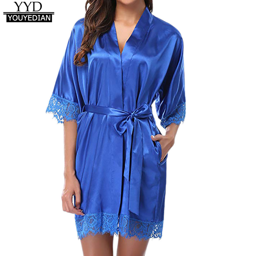 Women's lady sexy lace sleepwear satin nightwear lingerie pajamas suit woman robes sleeping dressing gown batas de mujer