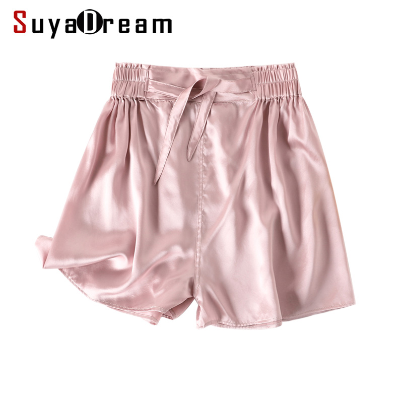 Women Shorts 16mm 100%Silk Satin Elastic Waist Loose Shorts 2019 Summer Belted Fashion Shorts For Women