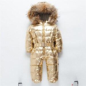 Image 4 -  30 רוסית חורף חליפת שלג פעוט בני בנות 90% ברווז למטה Rompers סרבל ילדי סרבל תינוקות תינוק 1 6 Y Clj311