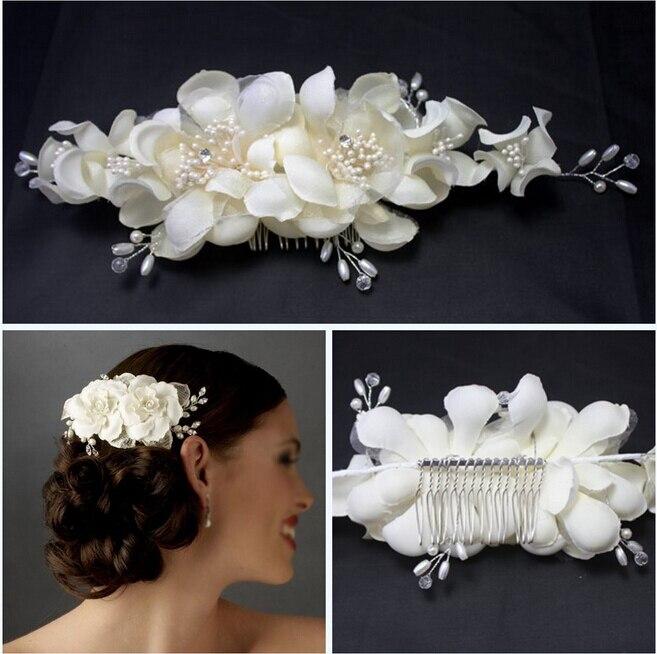 metting joura cristalino de la boda rhinestone de la perla peine del pelo blanco de la