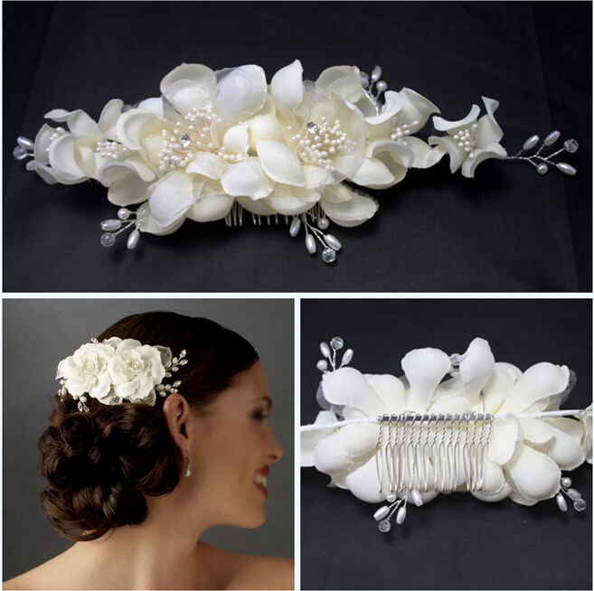 Wedding Crystal Rhinestone Pearl Hair Comb Bride High Quality White Fabric Flower Jewelry Bridal Vintage Accessories Simple Today
