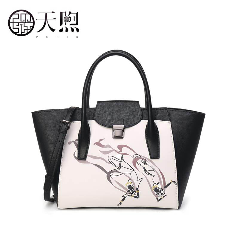 Pmsix 2019 New women Leather bags famous brand women Leather handbags fashion Black and white tote women leather Shoulder bagPmsix 2019 New women Leather bags famous brand women Leather handbags fashion Black and white tote women leather Shoulder bag