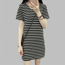 Women Nightgowns Short Mini Striped Night Dress Summer Sleepshirts Princess Nightgown Female Sleepwear Black/White E0076
