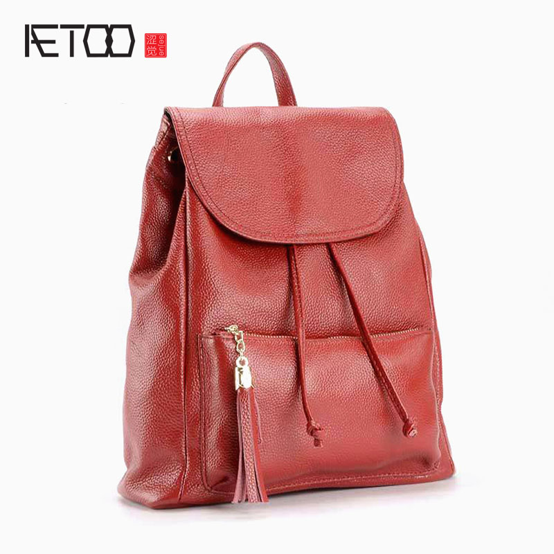 AETOO New genuine leather backpack women fashion shoulder bag Korean style wild fashion tassel leather bag