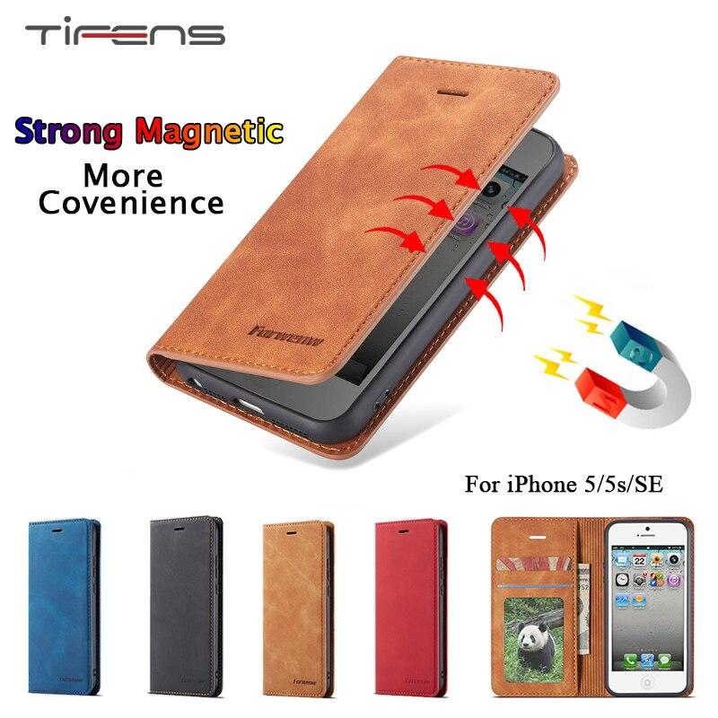 Funda de cuero de lujo para iPhone 5 5s SE, billetera magnética, soporte para tarjetas, funda protectora 360 para iPhone 5s, casa