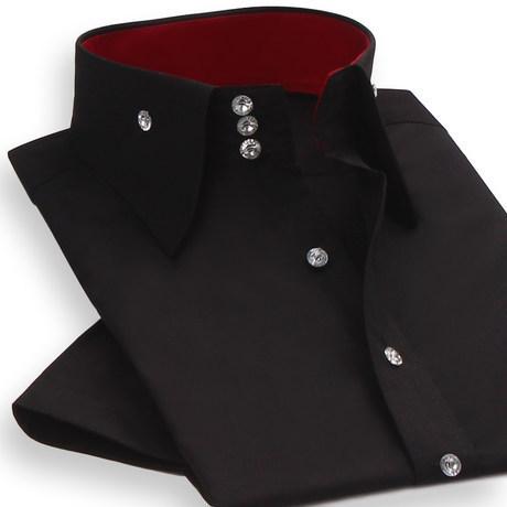 Moda Verão Camisas de Manga Curta dos homens Masculinos Preto Branco Casual Camisa Slim fit Camisas de Vestido de Casamento Designer de Negócios Sociais