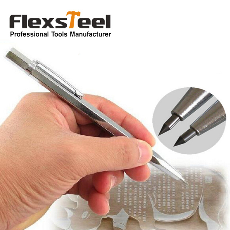 Flexsteel 1PC Diamond Metal Engraving Pen Tungsten Carbide Tip Scriber Pen for Glass Ceramic Metal Wood Carving Hand Tool tungsten carbide tip scriber etching pen carve jewelry engraver metal tool best quality