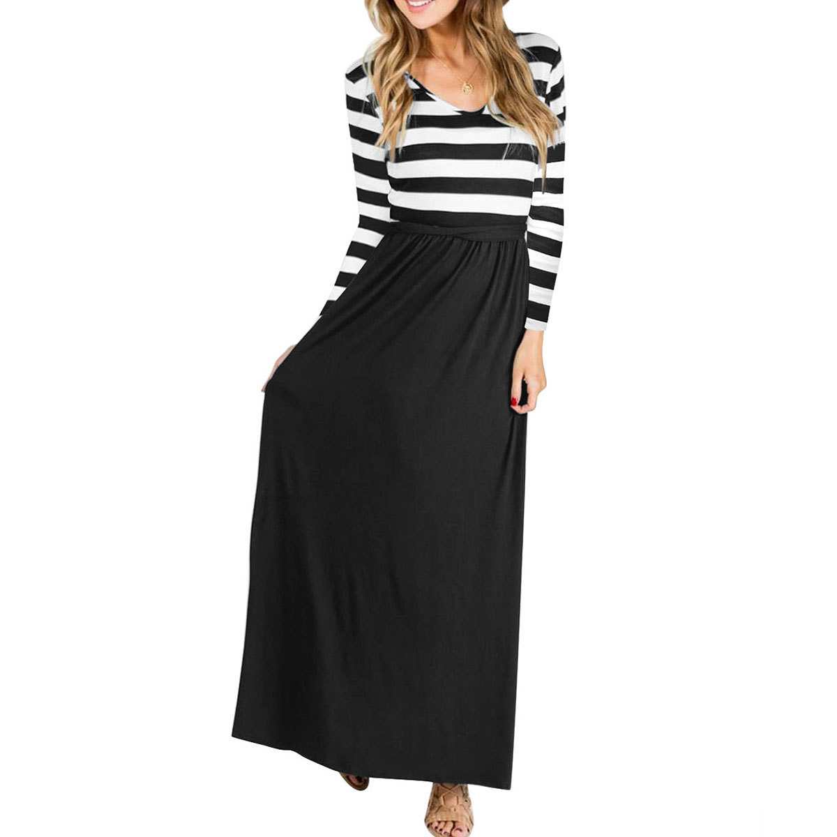 38b67dc831c13 US $12.4 |2018 autumn new style European and American ladies' long dresses,  Amazon explosion, round neck stripes, long sleeved dress.-in Dresses from  ...