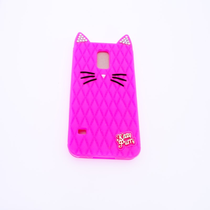 New Fashion Cute Kitty Purry Cartoon Cat Diamond Glitter Jewelled Silicone Cover Case for Samsung Galaxy S5 i9600