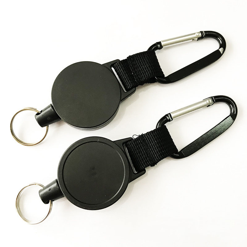 Plastic Thick Nylon Rope Trinket Keychains High Elastic Tension Telescopic Key Chain Ring ABS Easy Pull Buckle Carabiner D635