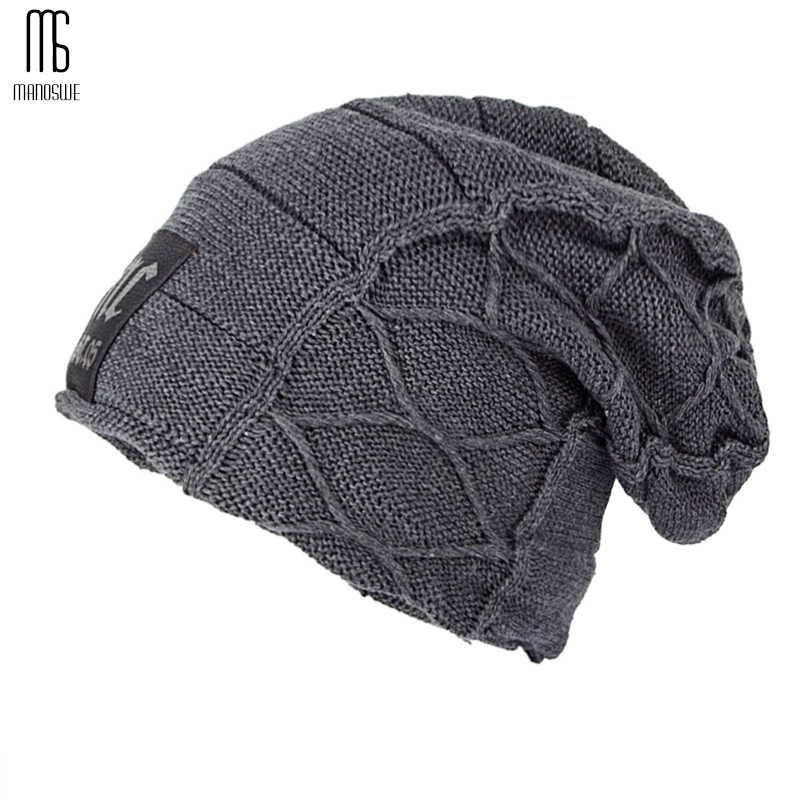Super fresco cráneo patrón sombreros para hombres gorros de lana de punto  sombreros de invierno para da57d4890ed