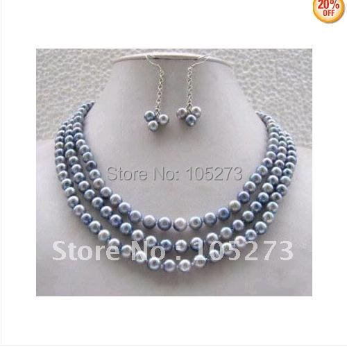 Jewellery Pretty Vogue Real Gray Pearl Necklace Earring