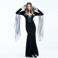 2017 New Adult Womens Sexy Halloween Party Black Dress Ghost Bride Costumes Outfit Fancy Cosplay Dresses