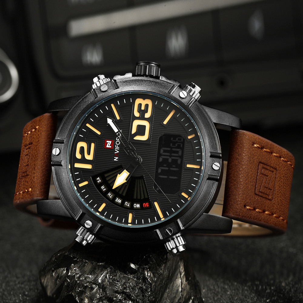 2018 Leather Men Sport Watch Sports Watches Quartz Clock LED Digital Watch Army Military Sport wristwatches relogio masculino geneva watches men 2017 binger fashion brand quartz clock army military sport watch digital wristwatches relogio masculino