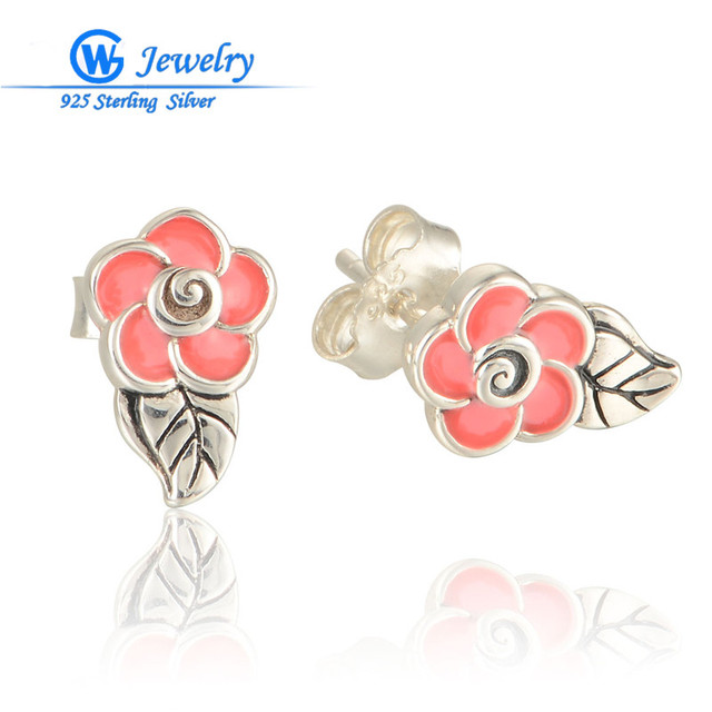 GW Fine Jewelry European Style 925 Sterling Silver Stud Earrings Enamel Flower Earring For Women Gift ER1017
