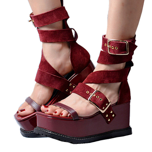 e2d97fb19 Women Platform Wedge Sandals Wine Red Suede Summer Shoes Woman Gladiator  Ankle Strap Buckle Chaussures Femme Ladies Shoes