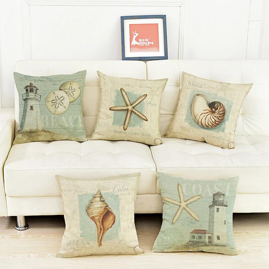 Aqua Color Sea Shell Starfish Cushion Pillowcase Mediterranean Style Home Decor Cotton Linen Throw Pillows Cojines Almofada Throw Pillows Linen Throw Pillowmediterranean Home Decor Aliexpress