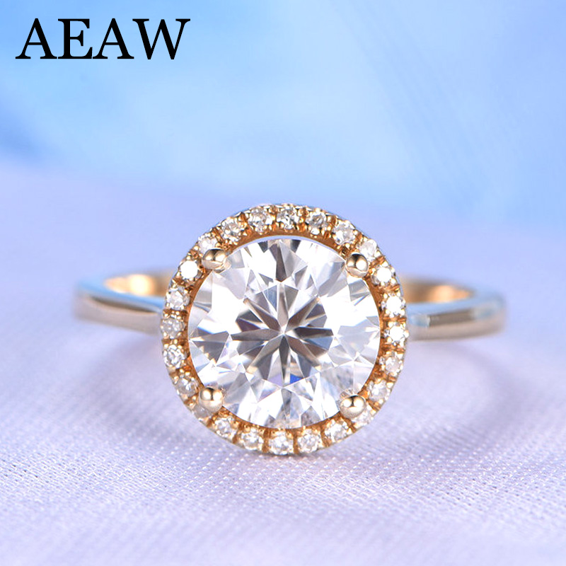 AEAW Halo Moissanites Rings Solid 9k Rose Gold 2ct Carat Round Cut Lab Grown Diamond Wedding Ring For Women