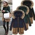 Женщин зимнее пальто куртки темно-зеленый / голубой пальто меховой воротник долго флис с капюшоном дамы кашемира верхняя одежда W057