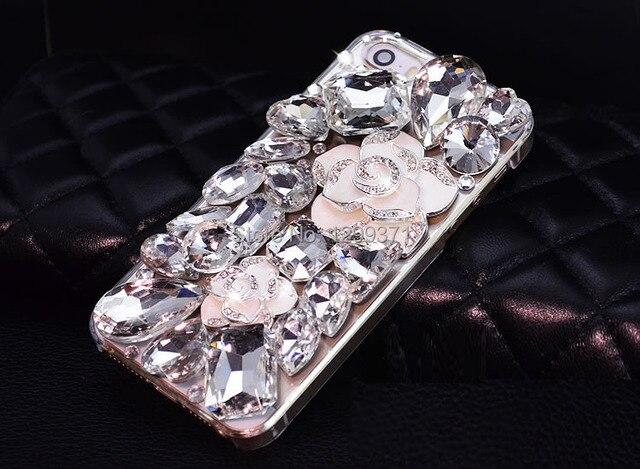 021bfc072 Luxury Camellia Flower Crystal Diamond Case For Iphone 7 6S Plus 5S 5C 4  Samsung Galaxy Note 5 4 3 2 S8 S7 S6 Edge Plus S5 S4 S3