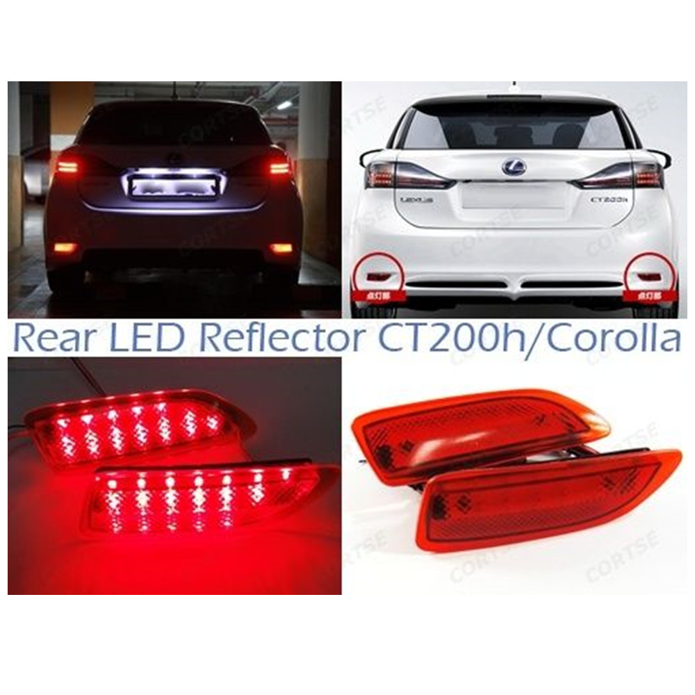 CYAN SOIL BAY For Lexus CT200h Red Lens Rear Bumper Reflector LED Tail Brake Light For Toyota Corolla 2011-13 new for toyota altis corolla 2014 led rear bumper light brake light reflector novel design top quality fast shipping